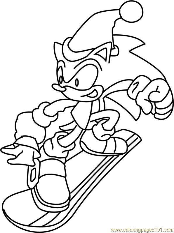 Sonic the Hedgehog on Christmas Coloring Page
