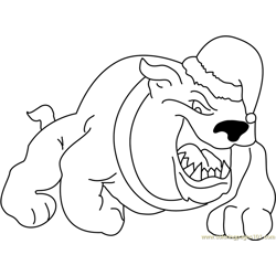 Bulldog with Christmas Cap Free Coloring Page for Kids