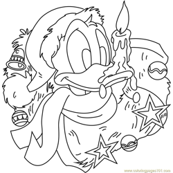 Donald Duck with Xmas Gifts Free Coloring Page for Kids