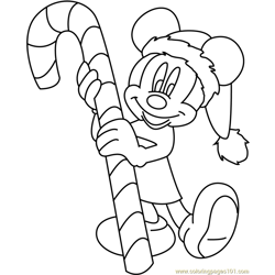 Mickey Mouse Merry Christmas with Candy Free Coloring Page for Kids