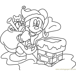 Mickey Mouse on Christmas Free Coloring Page for Kids