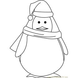 Santa Penguin Free Coloring Page for Kids