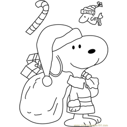 Snoopy Dressed As Santa Free Coloring Page for Kids