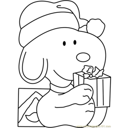 Snoopy Santa Free Coloring Page for Kids