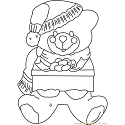 Teddy Santa Free Coloring Page for Kids