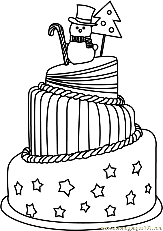 Christmas Cake Coloring Page