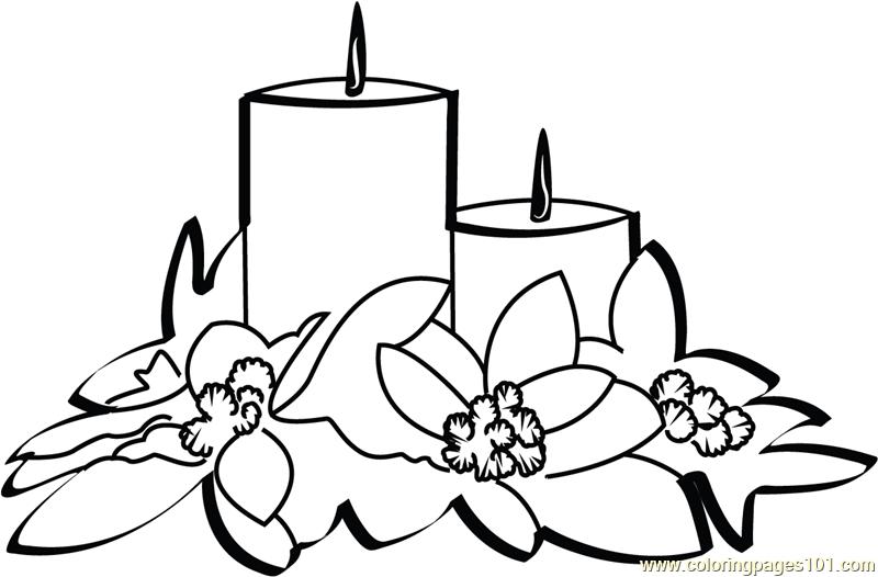 Christmas Candles Coloring Page Free Christmas