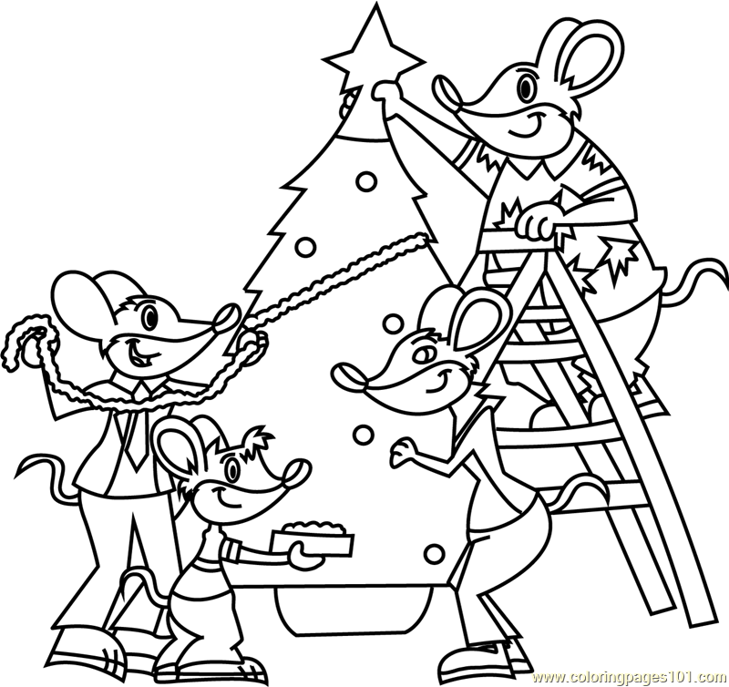 Christmas Decoration in Progress Coloring Page