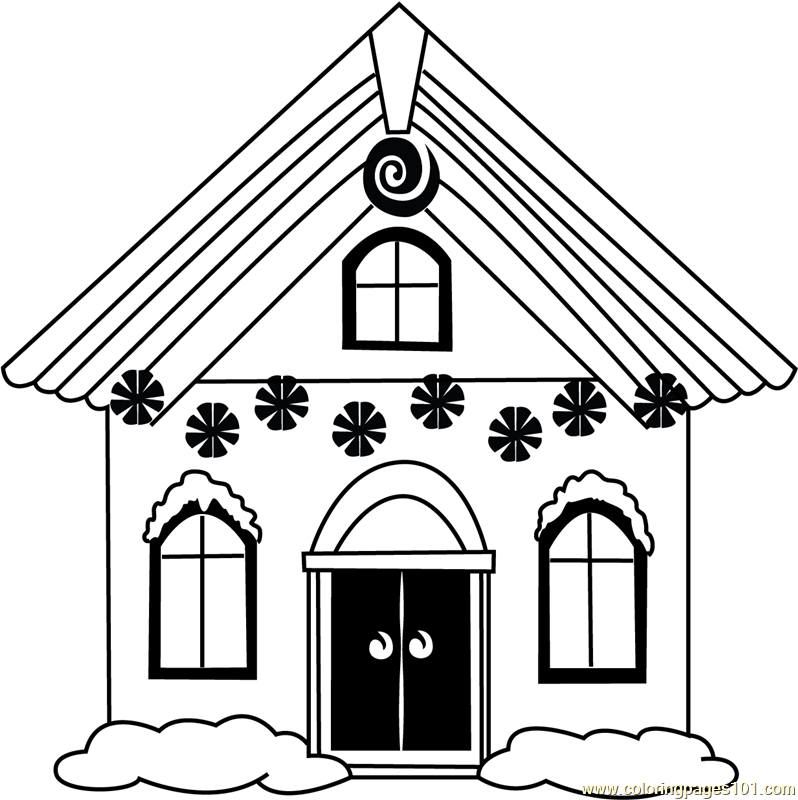 Christmas House Coloring Page Free Christmas