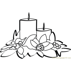 Christmas Candles Free Coloring Page for Kids