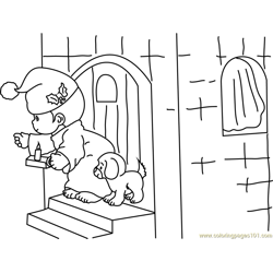 Santa house Free Coloring Page for Kids
