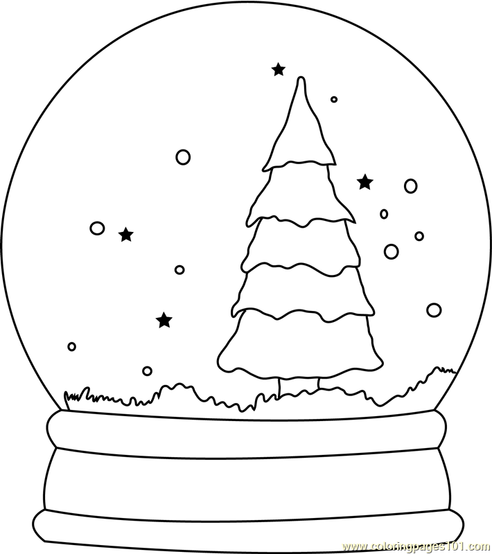 Christmas Tree Snow Globe Coloring Page Free Christmas