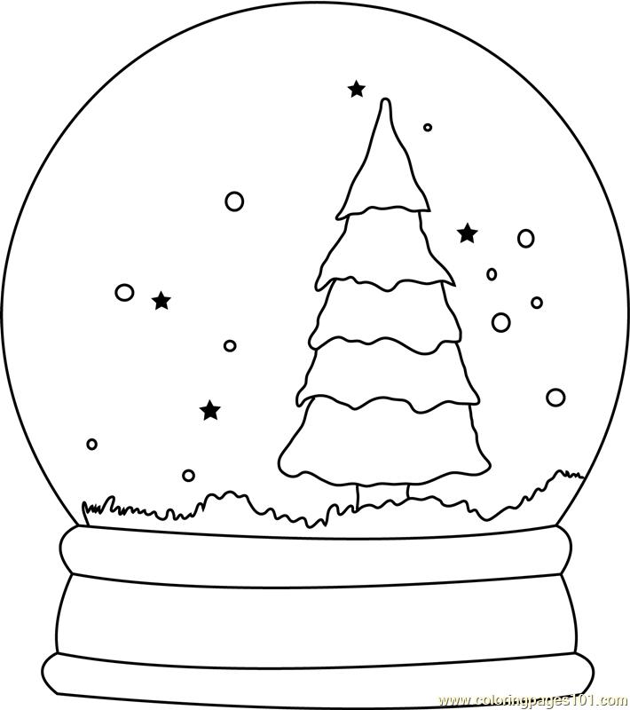 Christmas Tree Snow Globe Coloring Page - Free Christmas ...