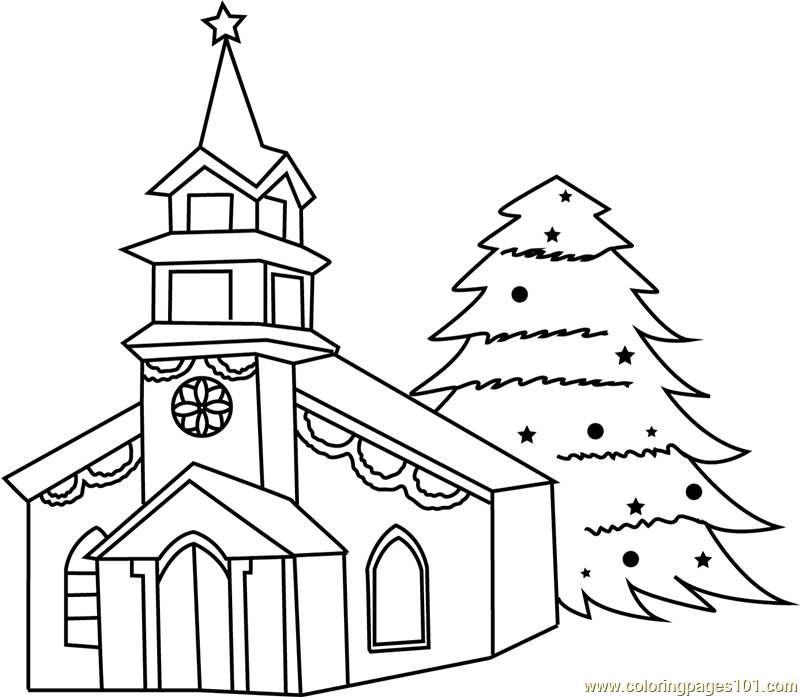 Decorated House with Christmas Tree Coloring Page