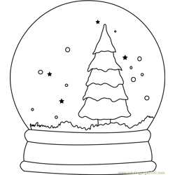 Christmas Tree Snow Globe Free Coloring Page for Kids