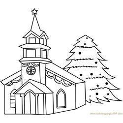 Decorated House with Christmas Tree Free Coloring Page for Kids