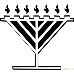 Menorah Christmas Free Coloring Page for Kids