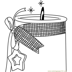 XMas Candle Free Coloring Page for Kids