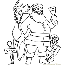 Santa Claus with Gifts Free Coloring Page for Kids