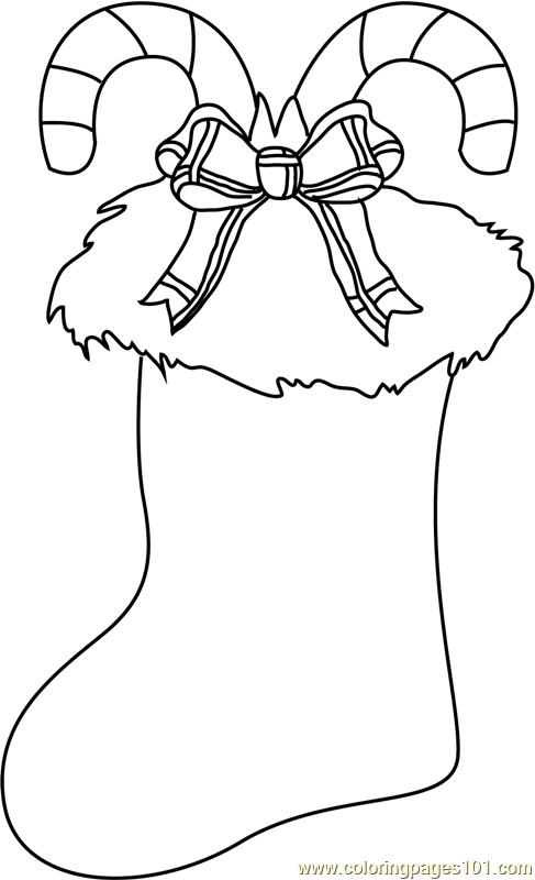 Christmas Stocking Decorated Coloring Page Free