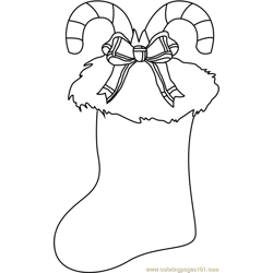 Christmas Stocking Decorated Free Coloring Page for Kids