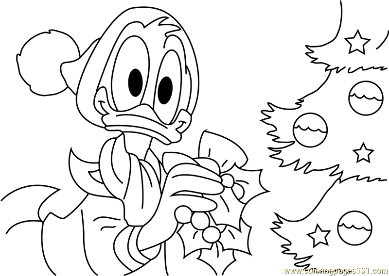 Donald Decorating Christmas Tree Coloring Page Free
