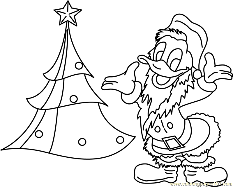 Donald Duck with Xmas Tree Coloring Page
