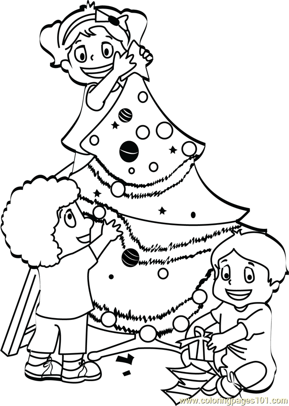 Kids Decorating Christmas Tree Coloring Page