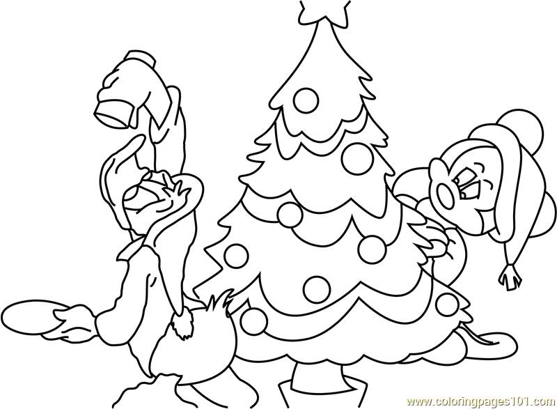 Santa and Mickey Mouse with Tree Coloring Page