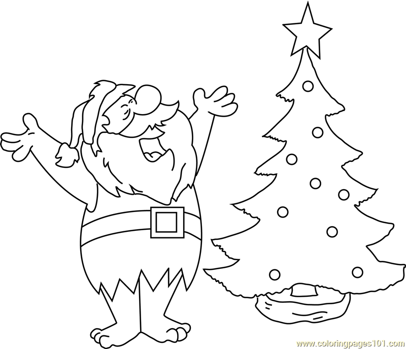 santa with christmas tree coloring page