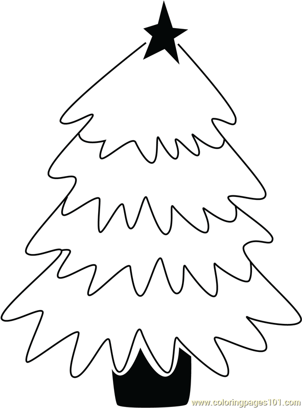 Simple Christmas Tree Coloring Page
