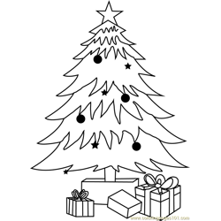 Decorated Christmas tree Free Coloring Page for Kids