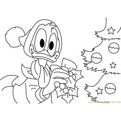 Donald Decorating Christmas Tree Free Coloring Page for Kids