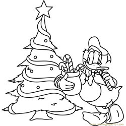 Donald Duck with Christmas Tree Free Coloring Page for Kids