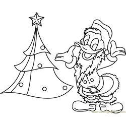 Donald Duck with Xmas Tree Free Coloring Page for Kids