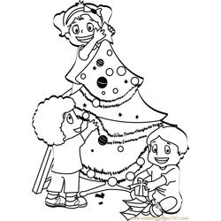 Kids Decorating Christmas Tree Free Coloring Page for Kids