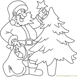 Santa Decorating Tree Free Coloring Page for Kids