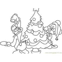 Santa and Mickey Mouse with Tree Free Coloring Page for Kids