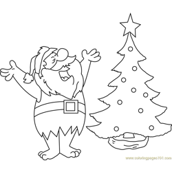 Santa with Christmas Tree Free Coloring Page for Kids