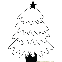 Simple Christmas Tree Free Coloring Page for Kids