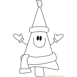 Smiling Christmas Tree Free Coloring Page for Kids