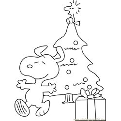 Snoopy with Christmas Tree Free Coloring Page for Kids