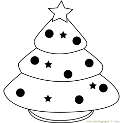 Xmas Tree for Kids Free Coloring Page for Kids