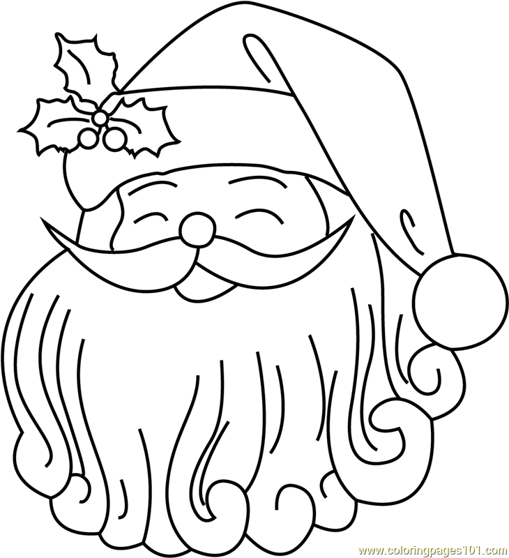 Cute Santa Face Coloring Page Free