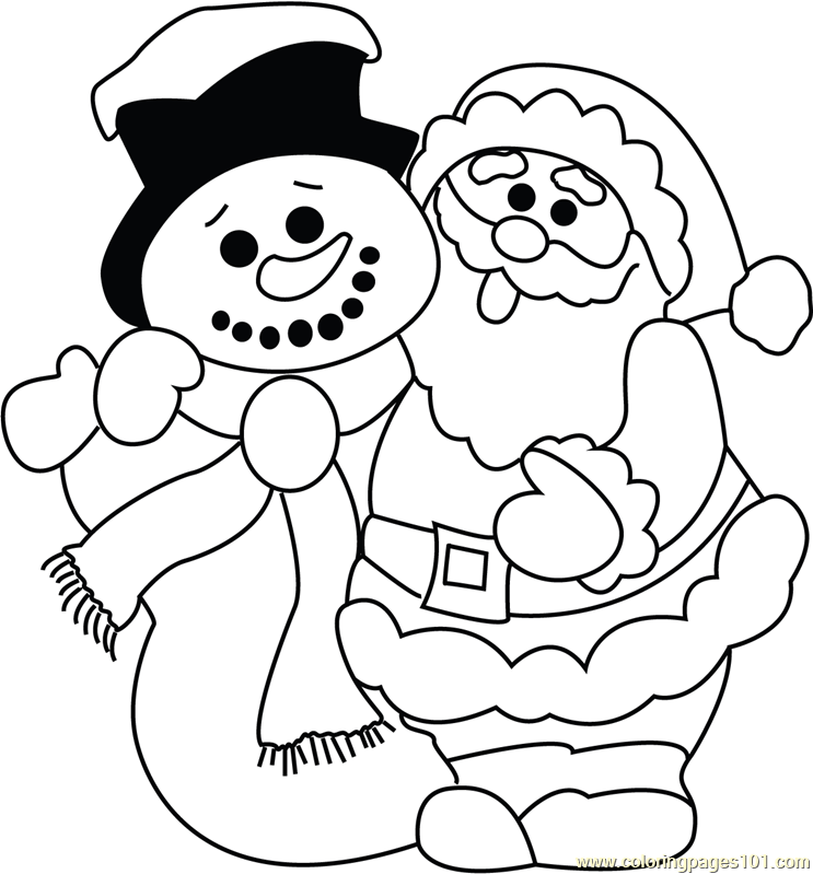 Funny Santa with Snowman Coloring Page