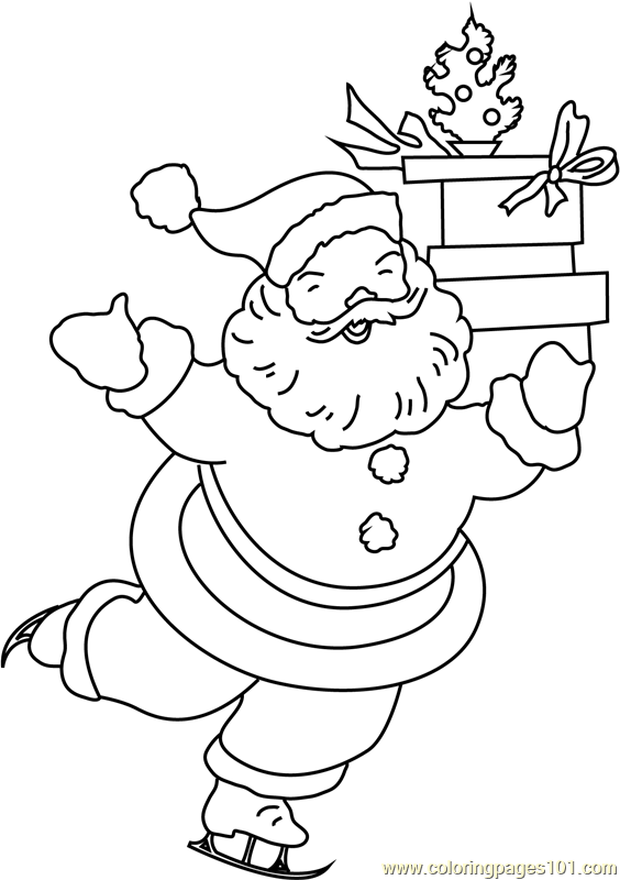 Happy Santa with Gifts Coloring Page