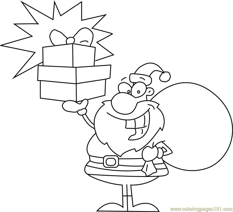 naughty santa holding presents coloring page