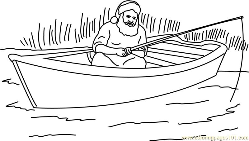Santa Boating Coloring Page - Free Santa Claus Coloring ...