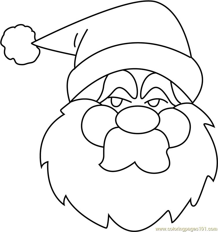 Santa Face Cute Coloring Page Free Santa Claus Coloring