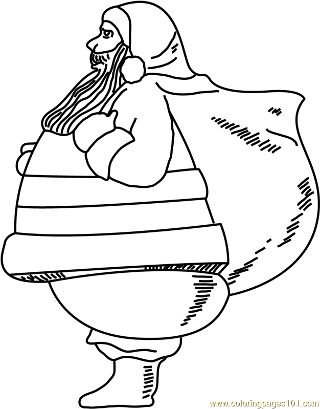 Santa all Set to Go Coloring Page